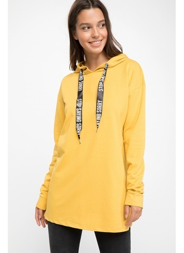 DeFacto Uzun Kollu Kapşonlu Tunik Sarı